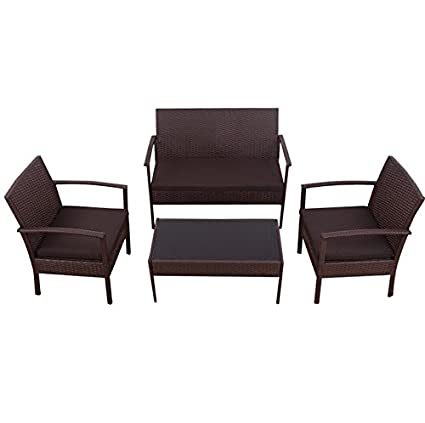 Amazon.com : 4 PCS Rattan Brown Wicker Sofa Set Strong Steel Frame ...