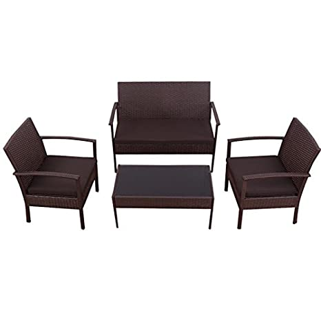 Wondrous Amazon Com 4 Pcs Rattan Brown Wicker Sofa Set Strong Steel Unemploymentrelief Wooden Chair Designs For Living Room Unemploymentrelieforg