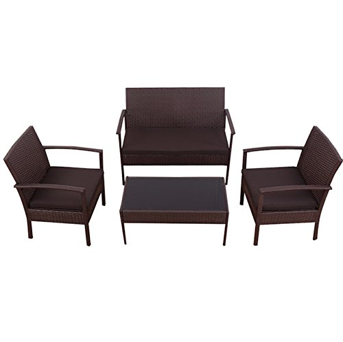 4 PCS Rattan Brown Wicker Sofa Set Strong Steel Frame Chair Coffee Table Outdoor Patio Garden Deck Backyard Yard Porches Cushioned Comfortable Seat Pool Side Furniture Durable And Sturdy (Furniture Repair Miami Rattan)