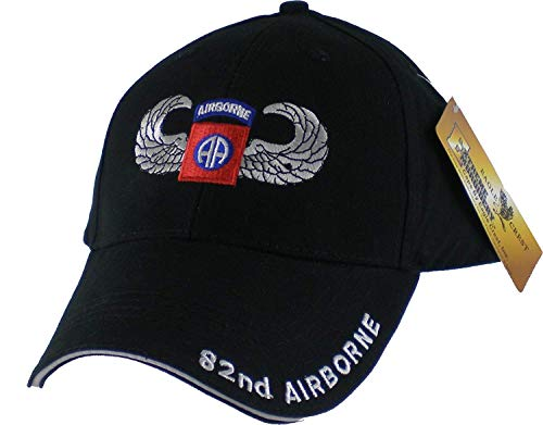 US Army 82nd Airborne with Wings Embroidered Ball - Military Airborne Ball Cap