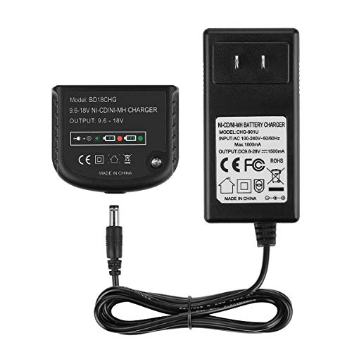Powilling 90571729-01 Multi-Volt 1.5Ah Output More Poweful Replacement Charger for Black and Decker 9.6 Volt Thru 18 Volt Slide Pack Batteries