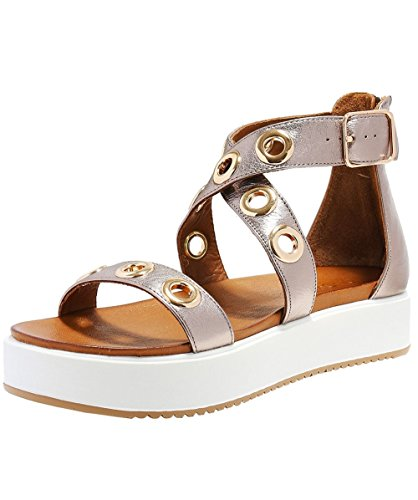 Inuovo Women's Eyelet Cross Ankle Wedged Sandals Pewter Pewter iOP1y5e9a4