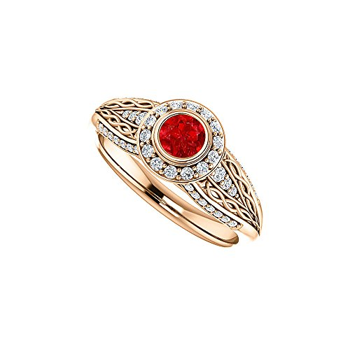 Ruby and CZ Leaf Pattern Ring 14K Rose Gold Vermeil