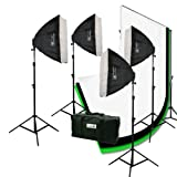 ePhoto 3200 Watt 4 Softbox Photo Video Studio Portrait Lighting with CHROMAKEY Green Black White Screen Background Support Stand Set H9004S469BWG
