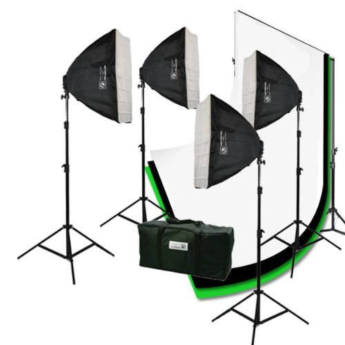 ePhoto 3200 Watt 4 Softbox Photo Video Studio Portrait Lighting with CHROMAKEY Green Black White Screen Background Support Stand Set H9004S469BWG by ePhotoinc