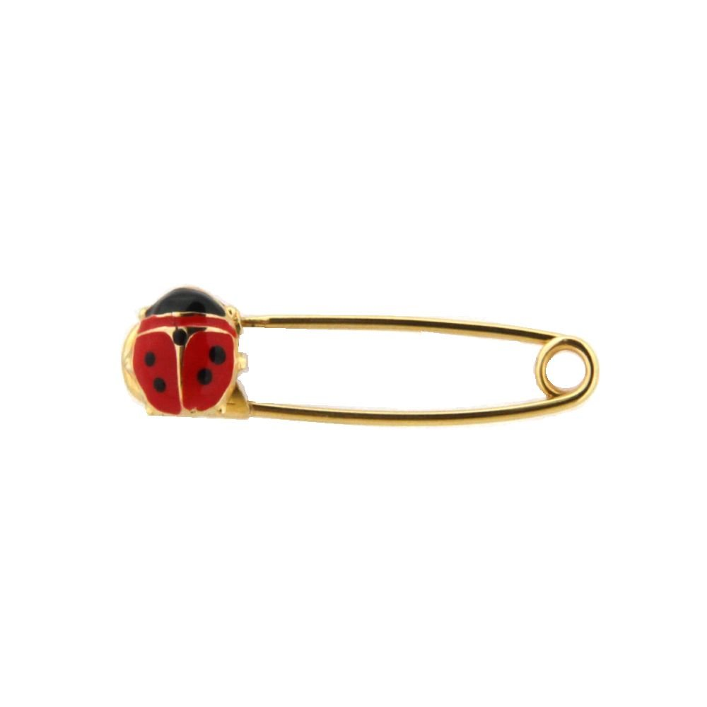 18K YG Safety Pin with Red Lady Bug (27mm X 5mm)