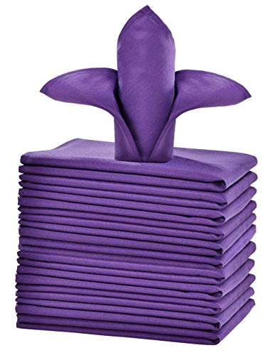 (cieltown Polyester Cloth Napkins 1-Dozen (20 x 20-Inch, Purple))