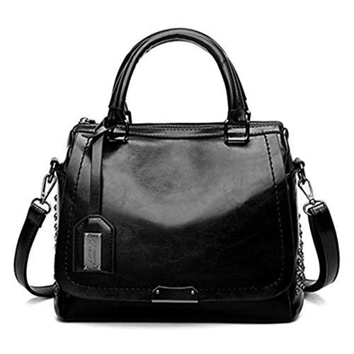 Sac En Handbag Bandoulière Dames À Cire Mode Femmes Main Black Cuir Paillettes Huile À Sacs Messenger Rivet Sacs De pf4qwU