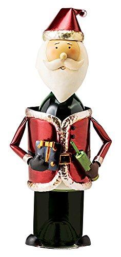 Santa Wine Bottle Holder (Santa Claus Wine Bottle Holder: Handmade, Hand Painted Metal Decoration Tabletop Wine Display for Holiday, Housewarming, Hostess Gift, Christmas Decorating)