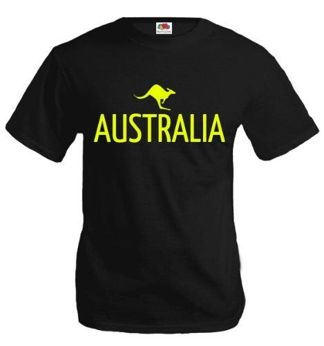 T-Shirt Australia-Kangaroo-L-Black-Neonyellow