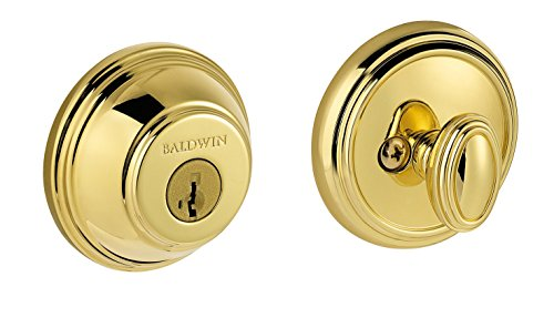 Baldwin Prestige 380 Round Single Cylinder Deadbolt Featuring SmartKey in Lifetime Polished Brass (Locks Door Baldwin Brass)