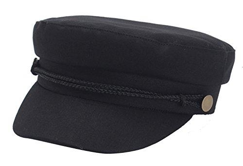 La Vogue Women Fisherman Fiddler Cap Peaked Beret newsboy Flat Cap Black