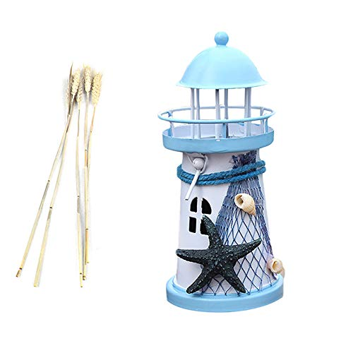 Light Blue Nowbetter Mediterranean Style Tower Candlestick Metal Iron Candle Holder Starfish Theme Lighthouse Lampstand Ornaments for Home Tables Wedding Crafts Decoration