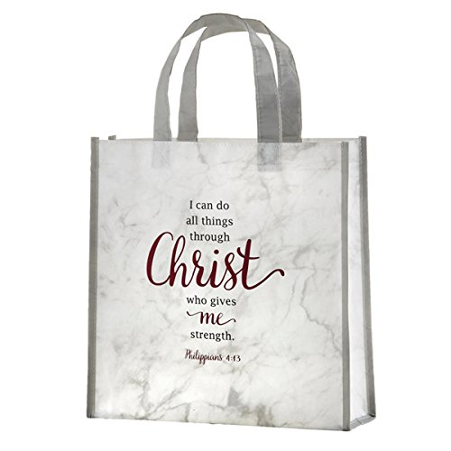 Christian Religious Tote Bag - I Can Do All Things Through Christ Laminated Tote Bag with Reinforced Bottom, 12 Inch