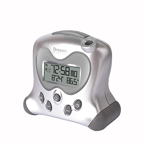 Oregon Scientific RM313PNFA Projection Atomic Clock with Indoor Temperature Calendar Alarm - Silver
