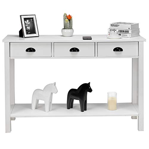 Giantex Console Sofa Table, Entryway Table Traditional Design w/ 3 Drawers and Shelf, Accent Rectangular Console Table for Living Room and Office, White (Console Drawer 3 Table)