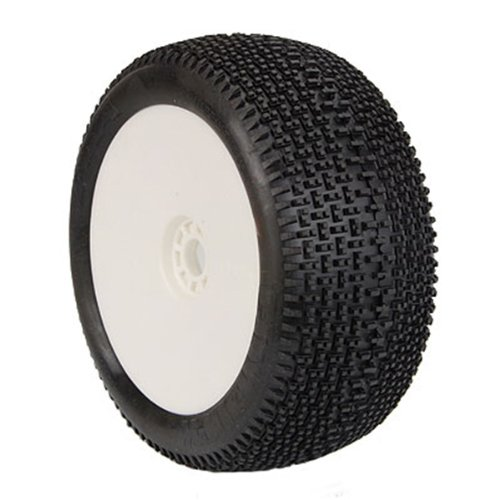 AKA Products 14112MRW Racing Truggy Evo City Block Medium Pre-Mounted White Tire, Scale (City Block Tires)