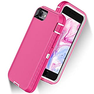 ORIbox Defense Case for iPhone 7/8/SE 2020, Shockproof Anti-Fall Protective case, Update Strong Protection, Sports Style, High-Class Rubber Pink (iPhone 7/8/SE 2020 Case)