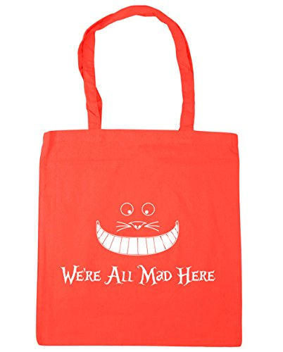 HippoWarehouse we're all mad here Tote Shopping Gym Beach Bag 42cm x38cm, 10 litres Coral