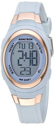 Armitron Sport Women's 45/7034PBL Rose Gold-Tone Accented Digital Chronograph Powder Blue Resin Strap Watch