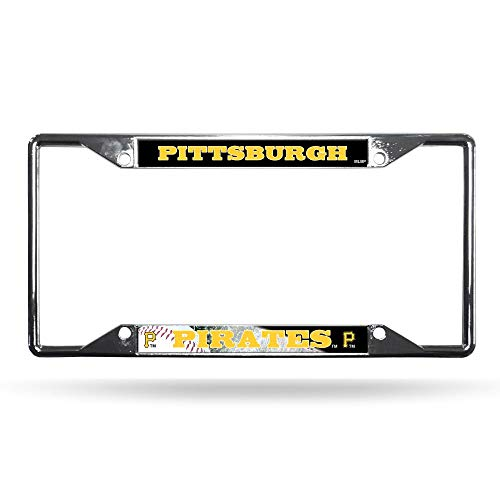 Rico Industries MLB Pittsburgh Pirates License Plate FrameLicense Plate Frame Chrome EZ View, Team Colors, One Size