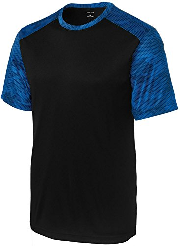 True Fit Camo (Joe's USA tm Mens CamoHex Athletic Shirt-Black/True Royal-M)