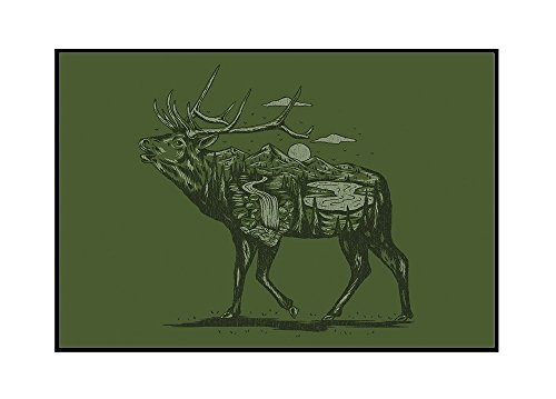 Elk - Scenery Animal Silhouette (36x24 Framed Gallery Wrapped Stretched Canvas) by Lantern Press