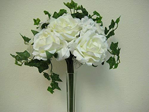 JumpingLight Cream Rose Stephanotis Bridal Bouquet Wedding Artificial Silk Flower 91723-CR Artificial Flowers Wedding Party Centerpieces Arrangements Bouquets Supplies