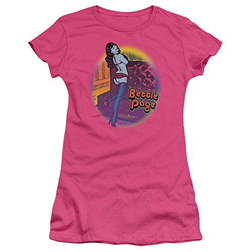 Trevco Bettie Page Retro Pop Juniors' Sheer Fitted T Shirt, Small Hot Pink