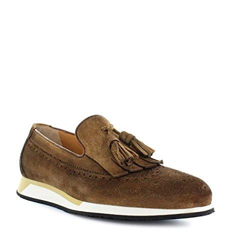 Ante de Primavera 2018 Zapatos Verano con Hombre Mocasín Santoni Marrón Borlas 46Sxdtq