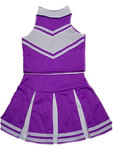 Little Girls' Cheerleader Cheerleading Outfit Uniform Costume Cosplay Violet/White (S / -
