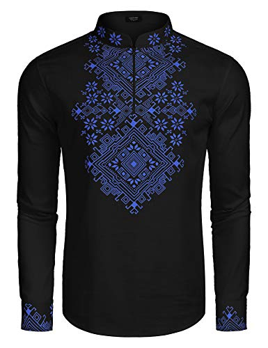 (COOFANDY Men's Slim Fit Hippie Shirt Long Sleeve Floral Print Casual Zip Up Cotton Beach Party Henley T Shirt Black)
