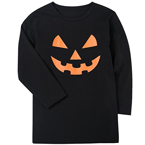 Children Boys' Jack O' Lantern Pumpkin Face Halloween Costume Kids Black T-Shirt -