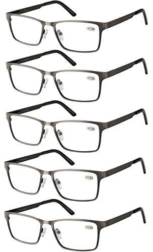 Eyecedar 5-Pack Reading Glasses Men Rectangle Frame Metal Grey Stainless Steel Material Spring Hinges Readers 2.50 by eyecedar (Image #7)