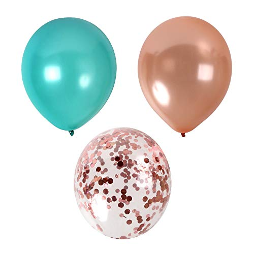 Treasures Gifted Turquoise and Rose Gold Confetti Balloons Party Decoration for Valentines Bridal Shower Wedding Engagement Birthday Graduation Supplies (44 -