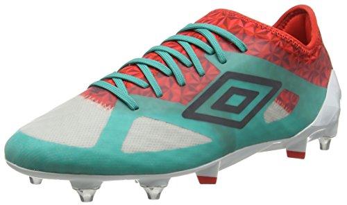 Umbro Velocita Iii Pro Sg, Botas de Fútbol para Hombre Multicolor (Dawn Blue/Carbon/Fiery Red/Spectra Green Epe)