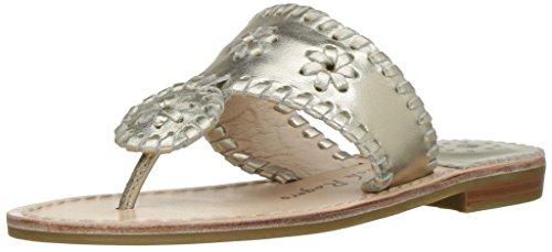Jack Rogers Girls' Miss Hamptons II Sandal, Platinum, 3 M US Little Kid