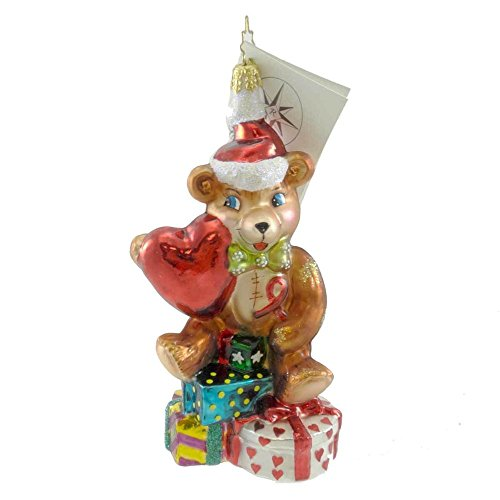 - Christopher Radko HEARTFELT JOY Glass Ornament Teddy Bear Heart