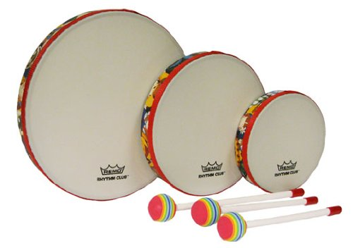 Remo RH3100-00 3-Piece Drum Set Multi-colored Rhythm Club Hand Drum Set, 6/8/10-Inch Diameters