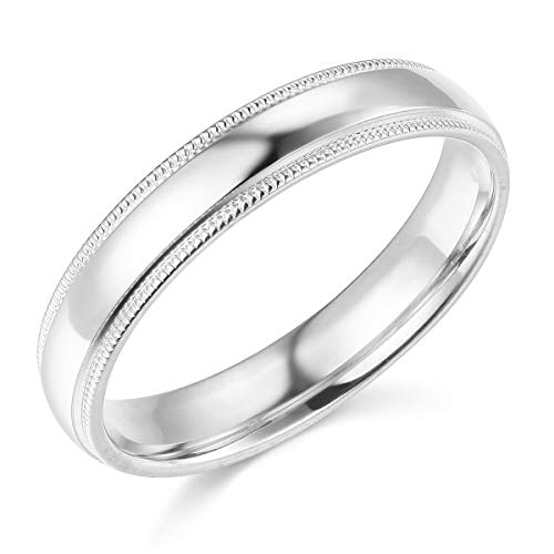 Wellingsale Ladies 14k White Gold Solid 4mm COMFORT FIT Milgrain Traditional Wedding Band Ring - Size ()