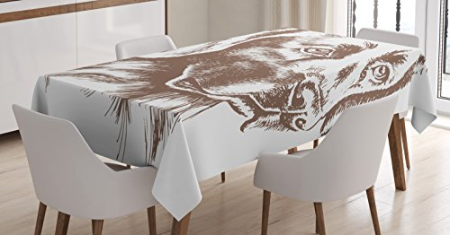 Ambesonne Sketchy Tablecloth, Cute Loyal Pet Golden Retriever Dog Best Friend of Human Animal Modern Artwork, Dining Room Kitchen Rectangular Table Cover, 60W X 90L inches, Brown and White by Ambesonne