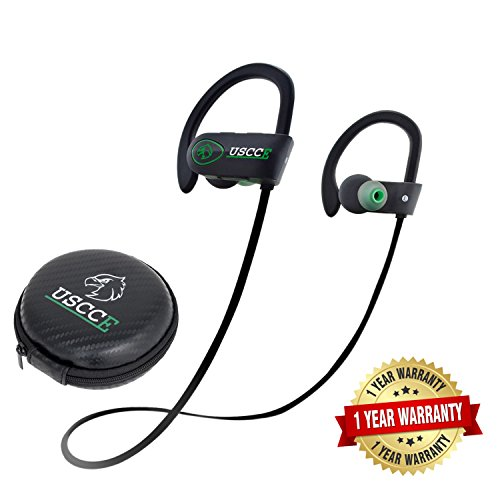 Best Sports Bluetooth Headphones - USCCE (NEW Design) V4.1 Best Wireless Sports Earphones w/Mic IPX7 Sweatproof for Gym Runing Workout 8 Hour Battery Noise Cancelling Headsets (Green)