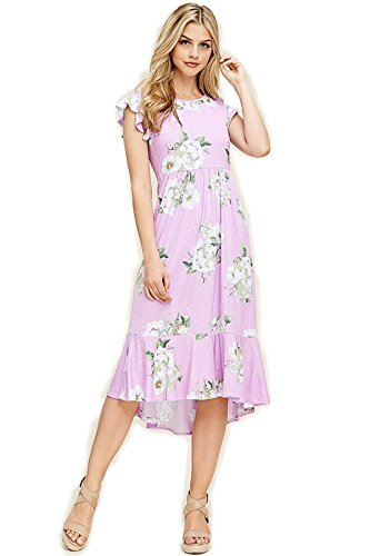 SHOPGLAMLA Floral Print Round Neck Hem Flared Short Sleeves Pocket Mid Dress Ruffle Cap Sleeves - Finding Love - Lilac ()