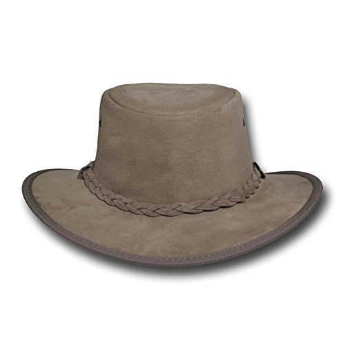 Barmah Hats Foldaway Suede Leather Hat 1066BL / 1066RB / 1066LM / 1066CH - Sand - Large by Barmah Hats (Image #2)