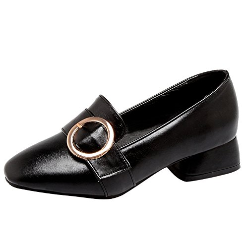Show Shine Womens Chunky Heel Slide Pumps Casual Loafers Shoes Black 3dHsDogil