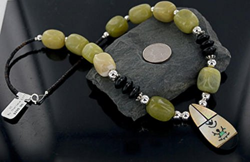 Inlay Kachina $300 Retail Tag Large Authentic Made by Charlene Little Navajo Silver Black Onyx Agate Native American Necklace