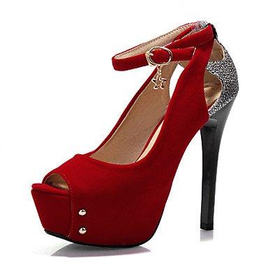 Talones de las mujeres Zapatos Primavera Verano Otoño club de cuero para oficina y del partido de la carrera y del vestido de noche de lentejuelas de tacón de aguja Negro Azul Rojo Blue