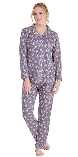 Body Touch Long Sleeve Pajamas - Button Front Knit PJS In Novelty Prints (Small (4-6), Doves) (Print Front Placket)