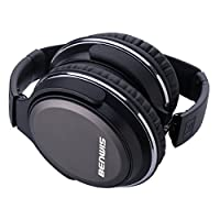 BENWIS Over Ear Headphones H600 Wired Headphone with in-line Mic Stereo Foldable Headset with Hard Carrying Case (Black)