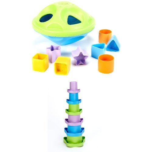 Green Toys Sorting and Stacking Bundle (Shape Green Sorter)